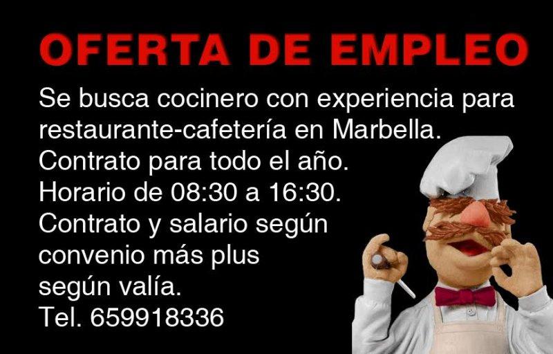 Oferta de trabajo: Puesto de Cocinero
