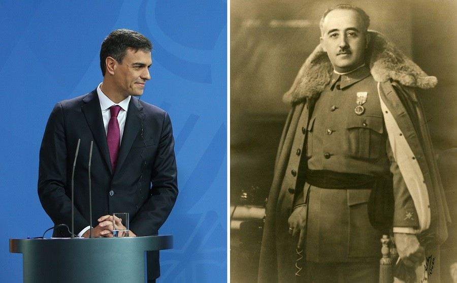 Pedro Sánchez (i) y el general Francisco Franco.